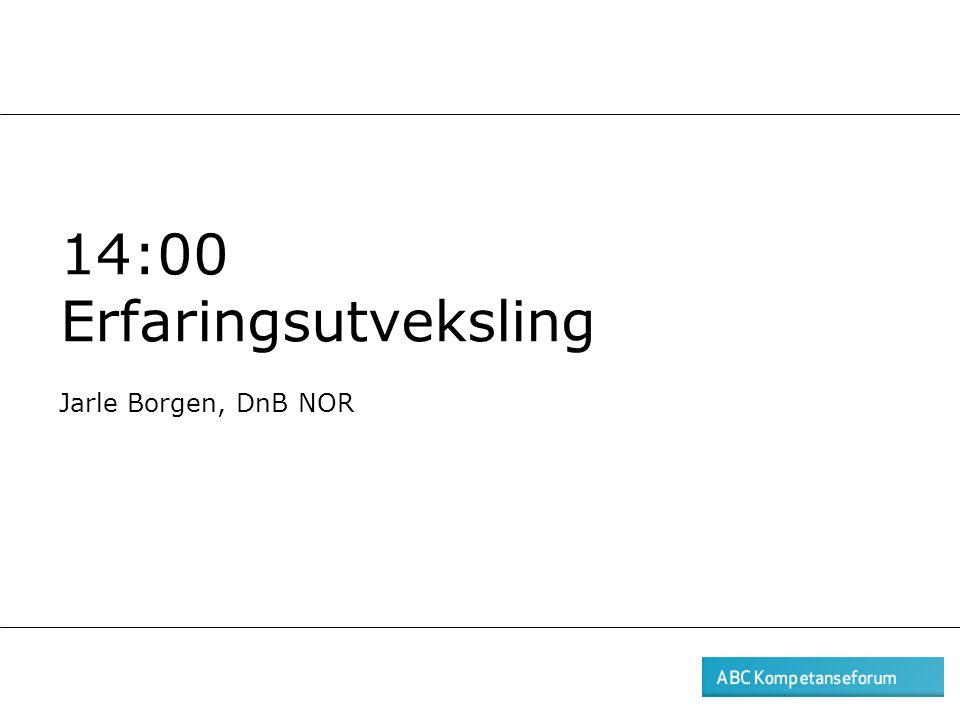 14:00 Erfaringsutveksling Jarle Borgen, DnB NOR