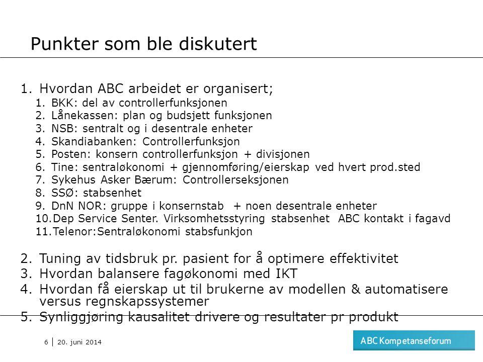 20. juni 2014 6 Punkter som ble diskutert 1.Hvordan ABC arbeidet er organisert; 1.BKK: del av controllerfunksjonen 2.Lånekassen: plan og budsjett funk