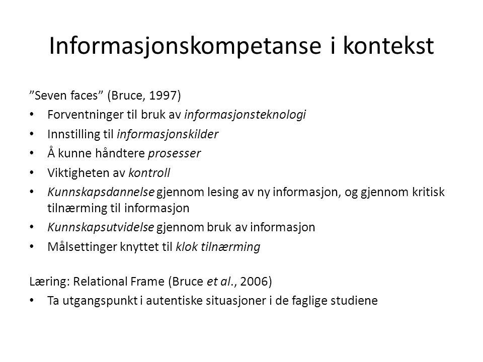 """Informasjonskompetanse i kontekst """"Seven faces"""" (Bruce, 1997) • Forventninger til bruk av informasjonsteknologi • Innstilling til informasjonskilder •"""