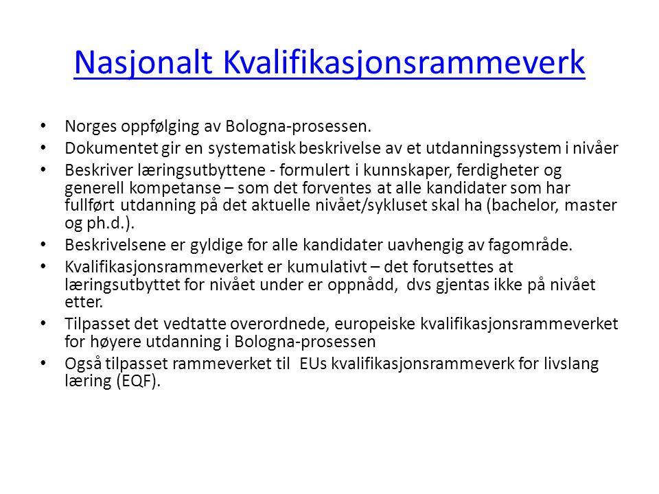 Nasjonalt Kvalifikasjonsrammeverk • Norges oppfølging av Bologna-prosessen. • Dokumentet gir en systematisk beskrivelse av et utdanningssystem i nivåe