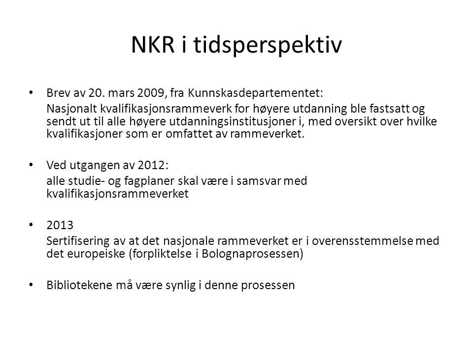 NKR i tidsperspektiv • Brev av 20. mars 2009, fra Kunnskasdepartementet: Nasjonalt kvalifikasjonsrammeverk for høyere utdanning ble fastsatt og sendt