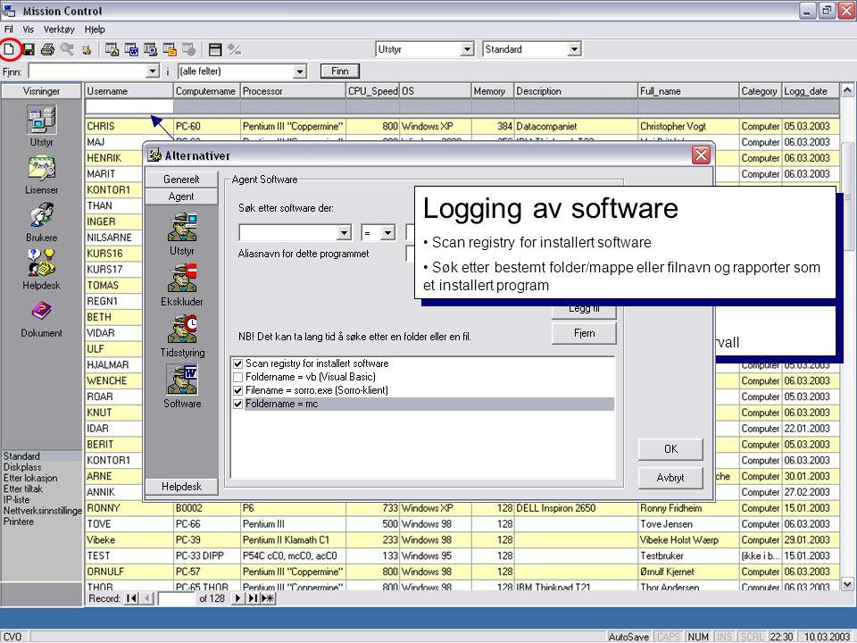 Legg inn annet utstyr • Legg inn info om utstyr som ikke logges automatisk • Printere, Servere, Routere, Switcher osv. • Eneste krav er et unikt 'Comp