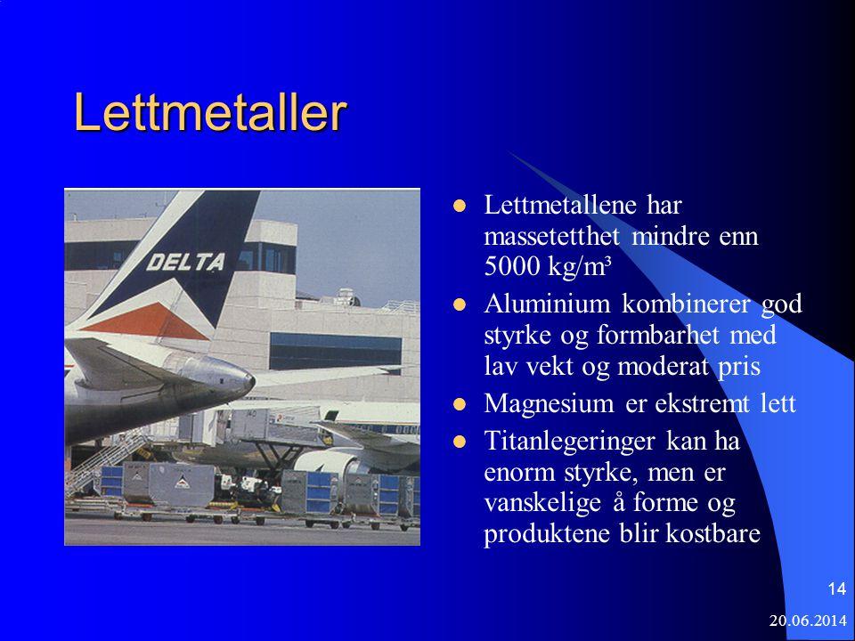 20.06.2014 14 Lettmetaller  Lettmetallene har massetetthet mindre enn 5000 kg/m³  Aluminium kombinerer god styrke og formbarhet med lav vekt og mode