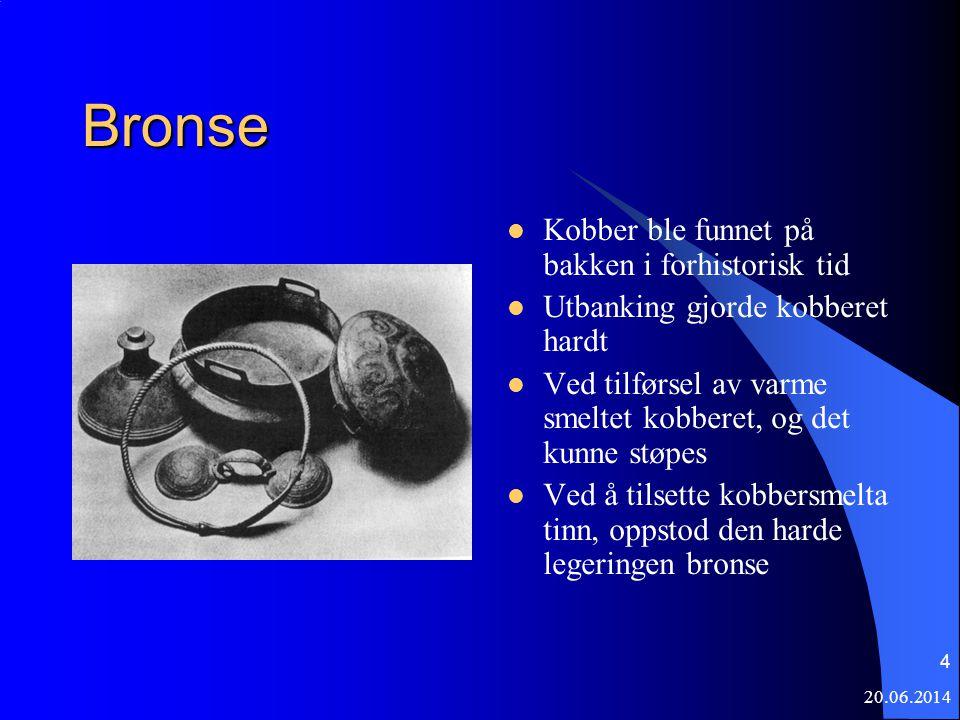 20.06.2014 4 Bronse  Kobber ble funnet på bakken i forhistorisk tid  Utbanking gjorde kobberet hardt  Ved tilførsel av varme smeltet kobberet, og d