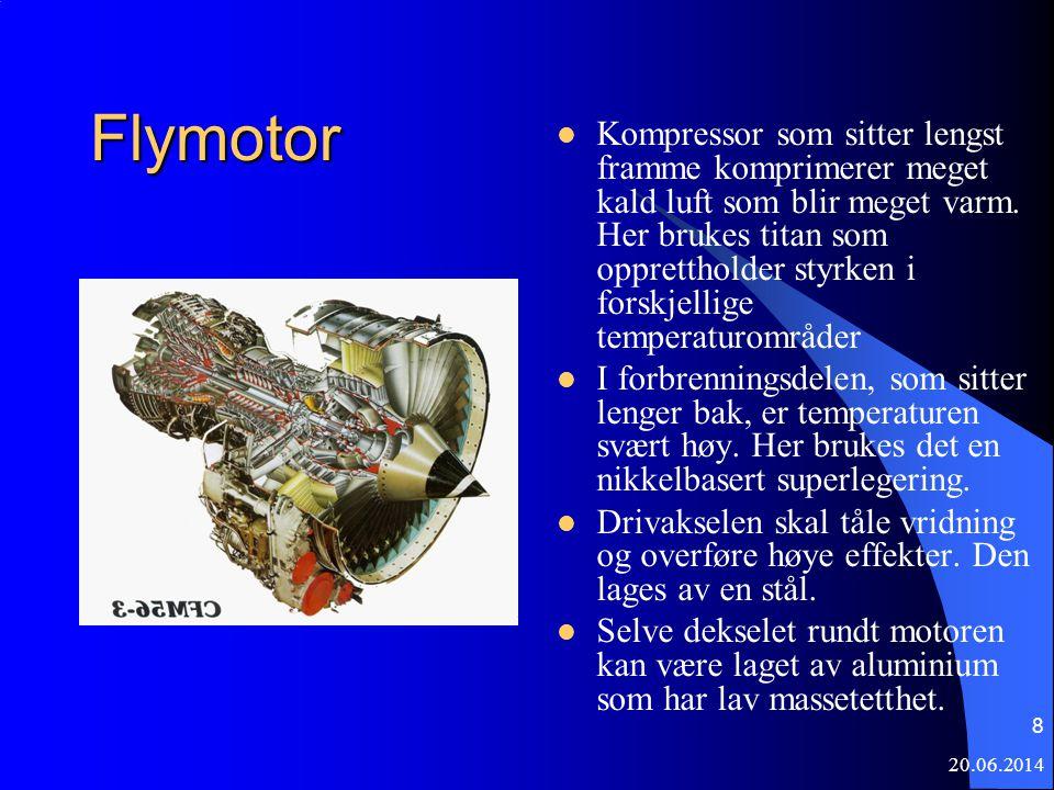 20.06.2014 8 Flymotor  Kompressor som sitter lengst framme komprimerer meget kald luft som blir meget varm. Her brukes titan som opprettholder styrke