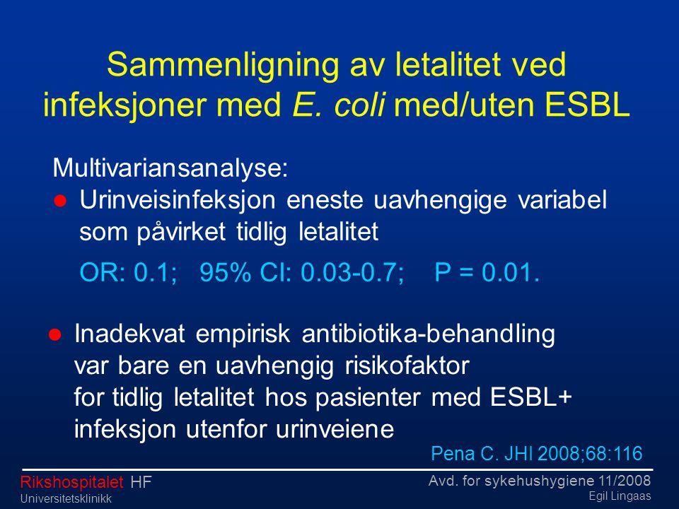 Avd. for sykehushygiene 11/2008 Egil Lingaas Rikshospitalet HF Universitetsklinikk Multivariansanalyse:  Urinveisinfeksjon eneste uavhengige variabel