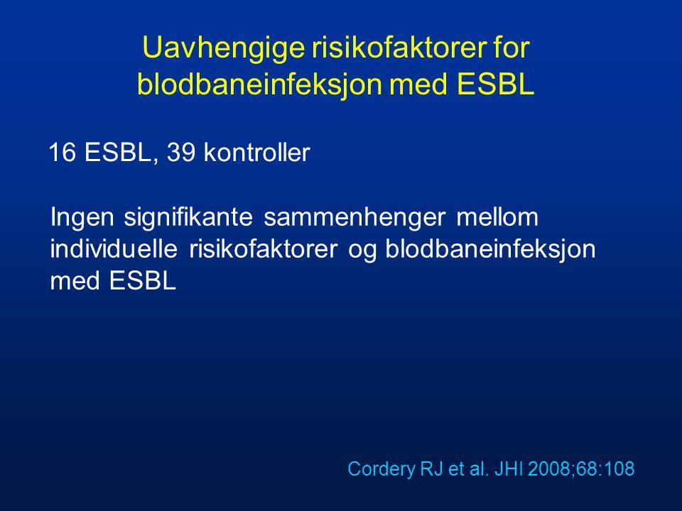 Uavhengige risikofaktorer for blodbaneinfeksjon med ESBL Ingen signifikante sammenhenger mellom individuelle risikofaktorer og blodbaneinfeksjon med E