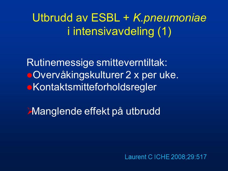 Utbrudd av ESBL + K.pneumoniae i intensivavdeling (1) Rutinemessige smitteverntiltak:  Overvåkingskulturer 2 x per uke.  Kontaktsmitteforholdsregler