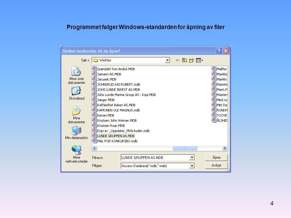 5 Menylinja og verktøylinja i programmet Alle dataregistrene er samlet under én meny.
