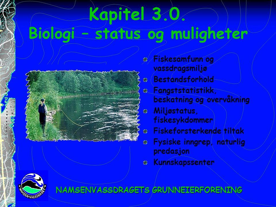 Kapitel 3.0. Biologi – status og muligheter Fiskesamfunn og vassdragsmiljø Bestandsforhold Fangststatistikk, beskatning og overvåkning Miljøstatus, fi