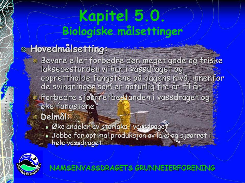 Kapitel 5.0. Biologiske målsettinger Hovedmålsetting: Bevare eller forbedre den meget gode og friske laksebestanden vi har i vassdraget og oppretthold