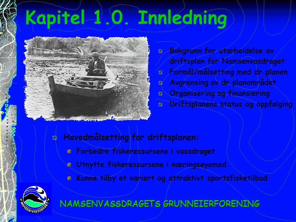Kapitel 1.0. Innledning Hovedmålsetting for driftsplanen: Forbedre fiskeressursene i vassdraget Utnytte fiskeressursene i næringsøyemed Kunne tilby et