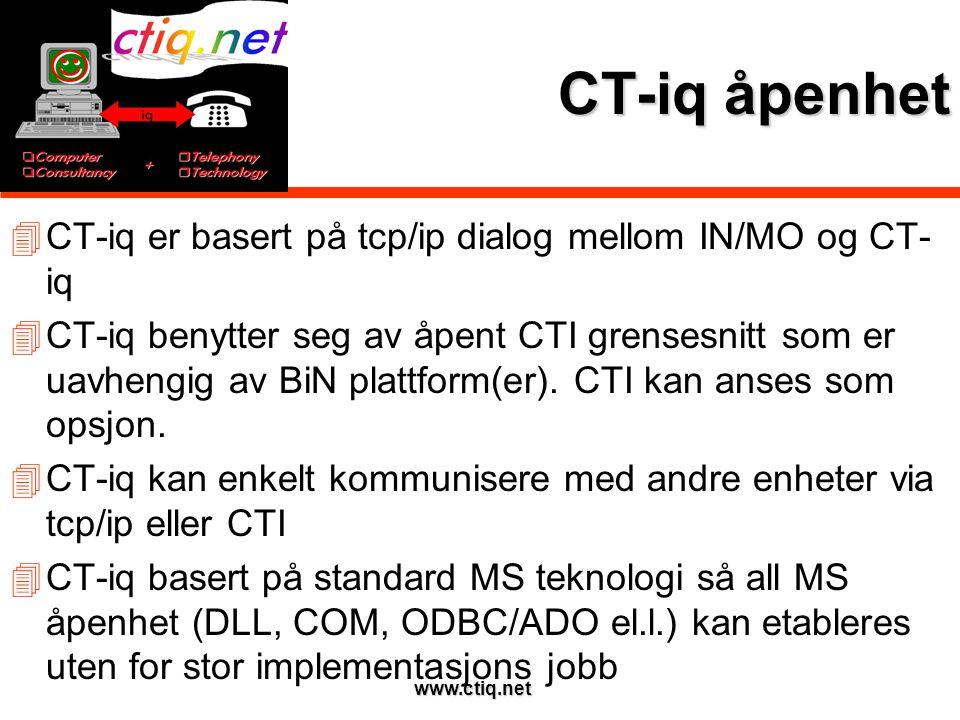 www.ctiq.net CT-iq åpenhet  CT-iq er basert på tcp/ip dialog mellom IN/MO og CT- iq  CT-iq benytter seg av åpent CTI grensesnitt som er uavhengig av BiN plattform(er).
