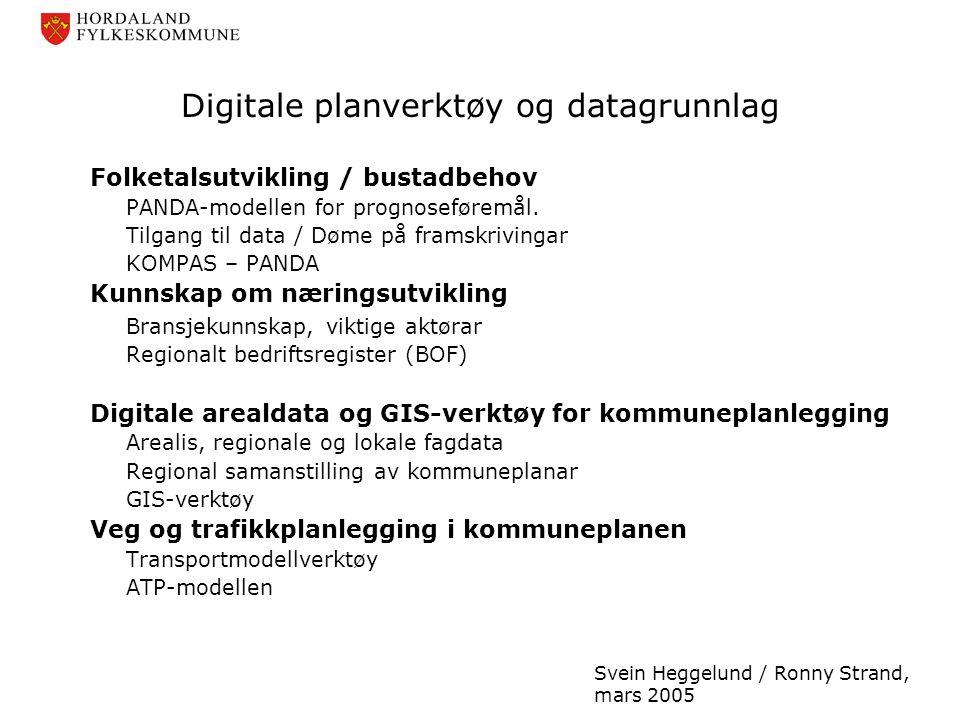 Digitale planverktøy og datagrunnlag Folketalsutvikling / bustadbehov PANDA-modellen for prognoseføremål. Tilgang til data / Døme på framskrivingar KO