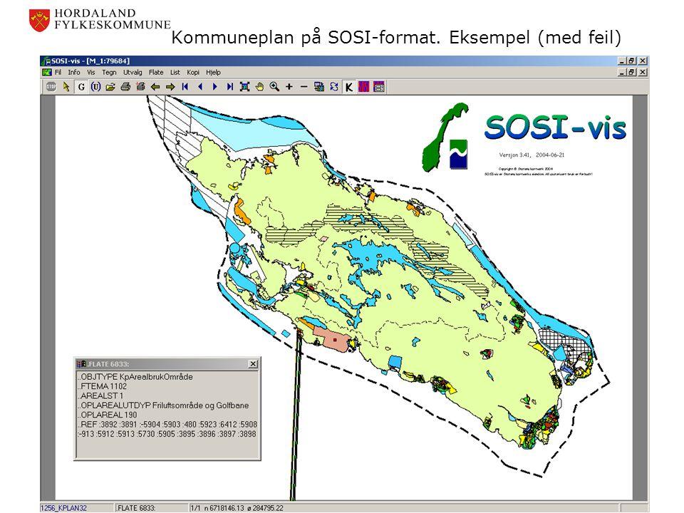 Kommuneplan på SOSI-format. Eksempel (med feil)