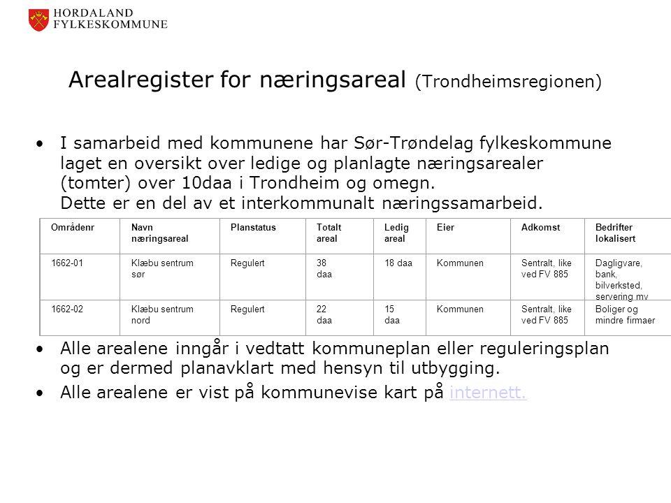 Arealregister for næringsareal (Trondheimsregionen) •I samarbeid med kommunene har Sør-Trøndelag fylkeskommune laget en oversikt over ledige og planla