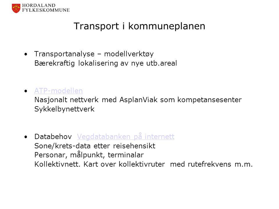 Transport i kommuneplanen •Transportanalyse – modellverktøy Bærekraftig lokalisering av nye utb.areal •ATP-modellenATP-modellen Nasjonalt nettverk med
