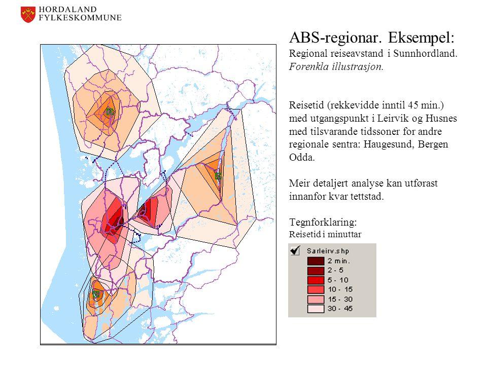 ABS-regionar. Eksempel: Regional reiseavstand i Sunnhordland. Forenkla illustrasjon. Reisetid (rekkevidde inntil 45 min.) med utgangspunkt i Leirvik o