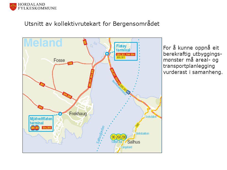 Utsnitt av kollektivrutekart for Bergensområdet For å kunne oppnå eit berekraftig utbyggings- mønster må areal- og transportplanlegging vurderast i sa