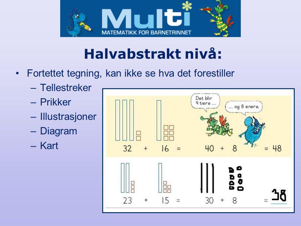 Abstrakt nivå: •Tall, tegn, matematiske uttrykk, algebra, formler, matematisk språk.