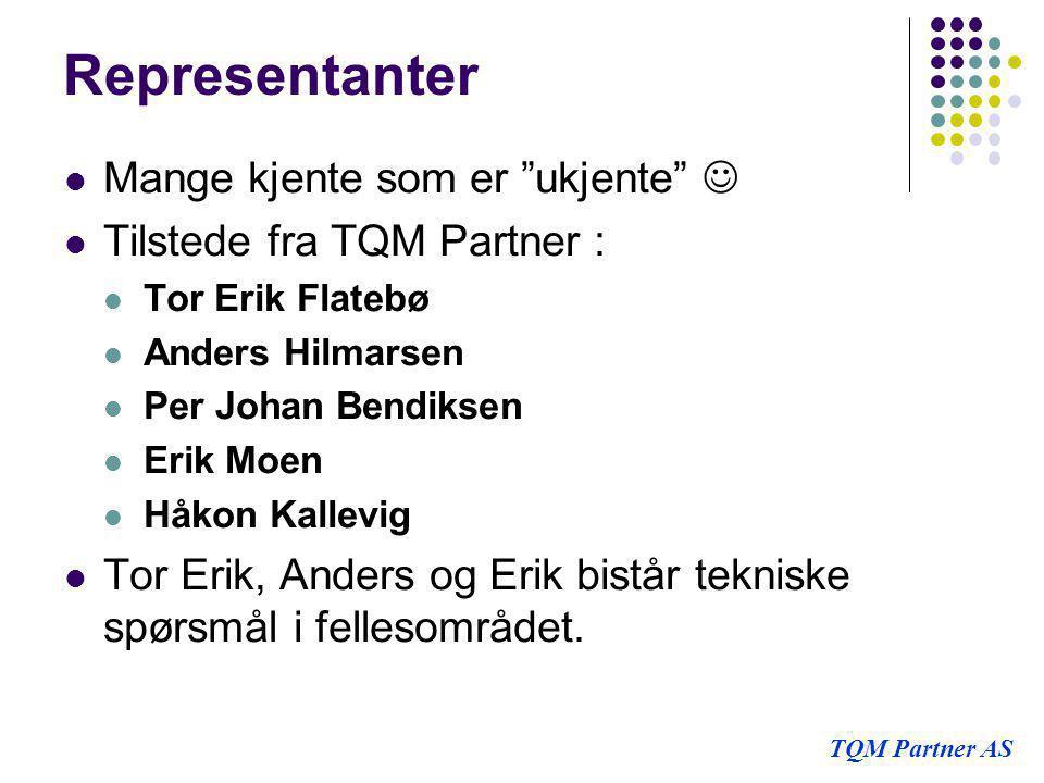 """Representanter  Mange kjente som er """"ukjente""""   Tilstede fra TQM Partner :  Tor Erik Flatebø  Anders Hilmarsen  Per Johan Bendiksen  Erik Moen"""