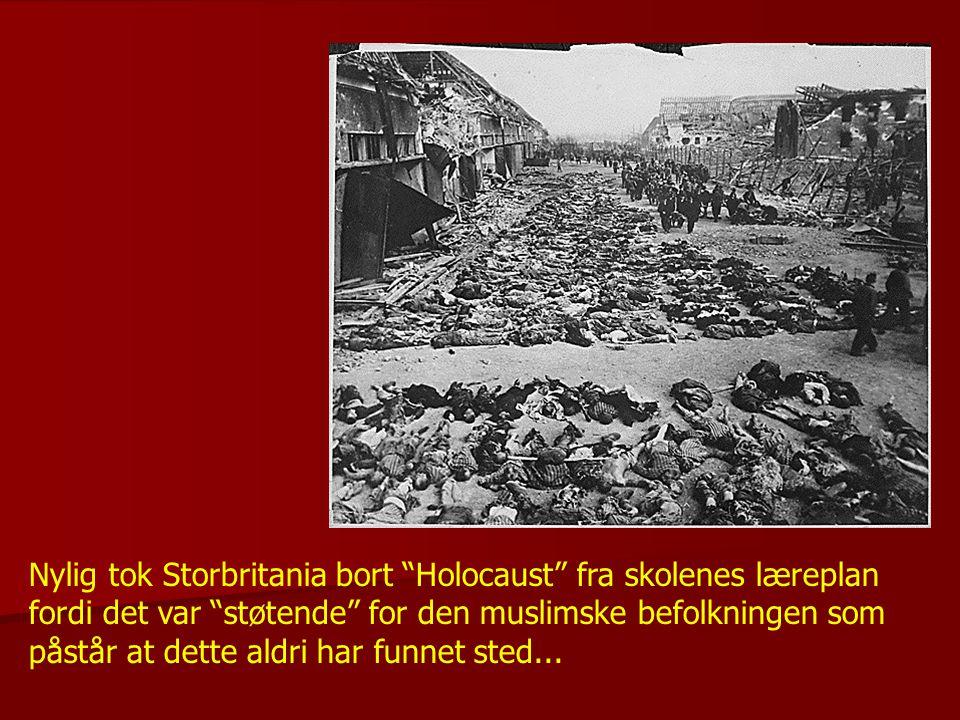 Nylig tok Storbritania bort Holocaust fra skolenes læreplan fordi det var støtende for den muslimske befolkningen som påstår at dette aldri har funnet sted...