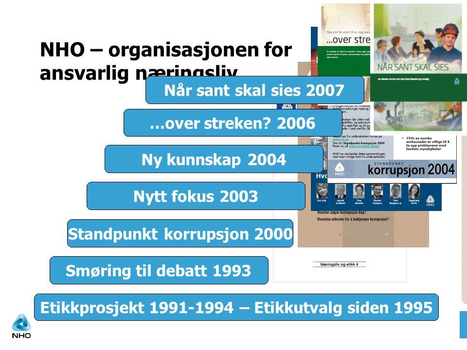NHO – organisasjonen for ansvarlig næringsliv Etikkprosjekt 1991-1994 – Etikkutvalg siden 1995 Smøring til debatt 1993 Standpunkt korrupsjon 2000 Nytt