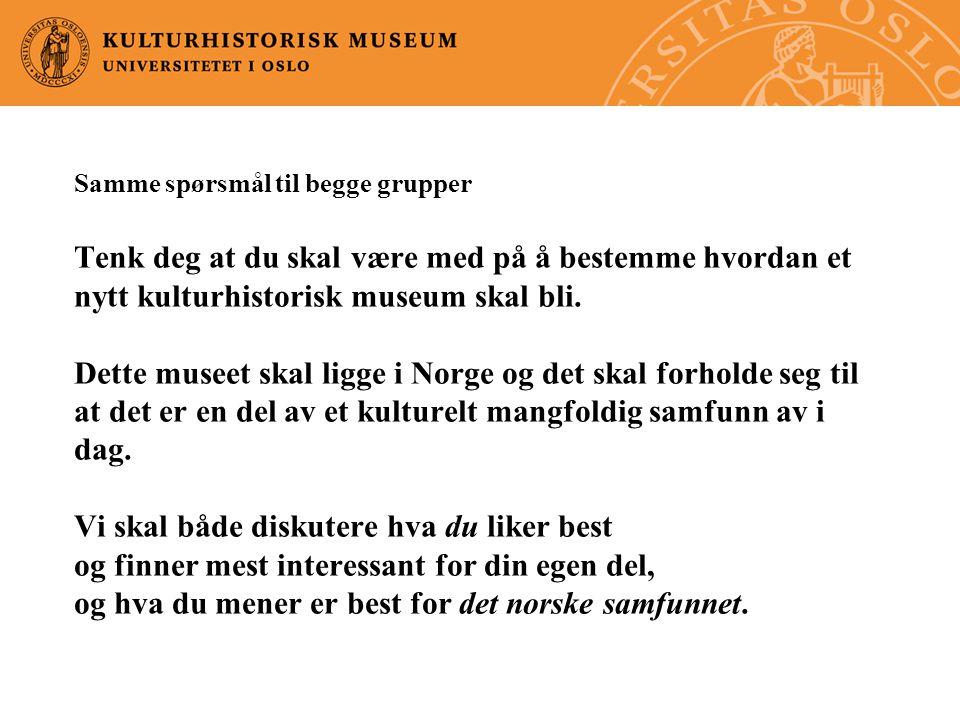 Samme spørsmål til begge grupper Tenk deg at du skal være med på å bestemme hvordan et nytt kulturhistorisk museum skal bli.