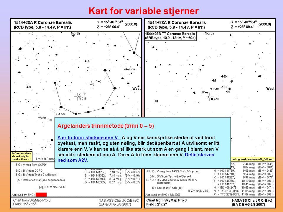 Kart for variable stjerner Argelanders trinnmetode (trinn 0 – 5) A er to trinn sterkere enn V : A og V ser kanskje like sterke ut ved først øyekast, m