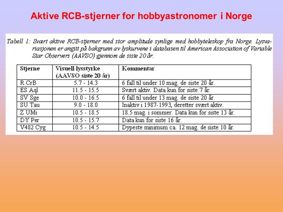 Karakteristiske egenskaper •RCB-stjerner er karbonrike og ekstremt hydrogen- fattige gamle populasjon I superkjemper som viser tilsynelatende helt uforutsigbar og kraftig variasjon i lysstyrken.