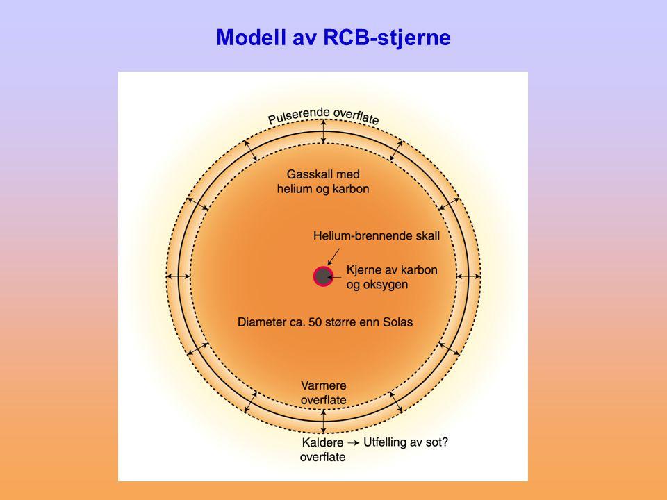 Teorier for dannelse av RCB-stjerner •Double Degenerate Model (DD) Sammensmelting av en heliumrik hvit dvergstjerne (HeWD) med en mer massiv karbon-oksygenrik hvit dvergstjerne (COWD).