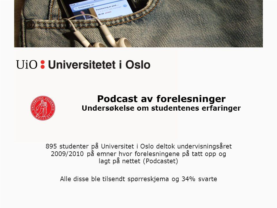 895 studenter på Universitet i Oslo deltok undervisningsåret 2009/2010 på emner hvor forelesningene på tatt opp og lagt på nettet (Podcastet) Alle disse ble tilsendt spørreskjema og 34% svarte Podcast av forelesninger Undersøkelse om studentenes erfaringer