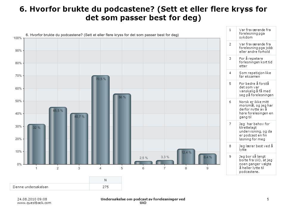 24.08.2010 09:08 www.questback.com Undersøkelse om podcast av forelesninger ved UiO 5 6.