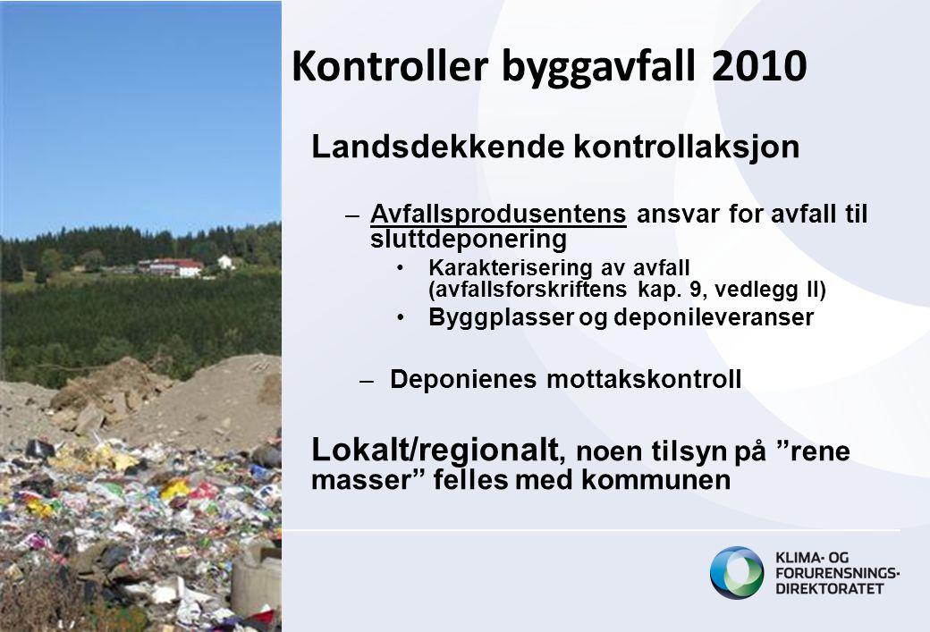 Landsdekkende kontrollaksjon –Avfallsprodusentens ansvar for avfall til sluttdeponering •Karakterisering av avfall (avfallsforskriftens kap.
