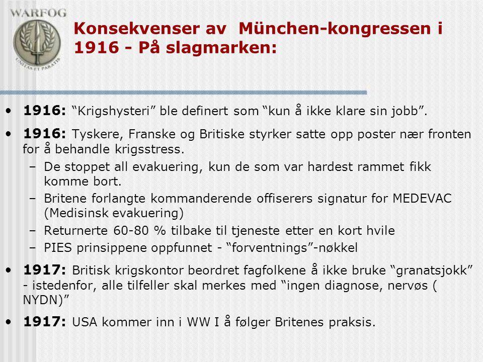 """Konsekvenser av München-kongressen i 1916 - På slagmarken: •1916: """"Krigshysteri"""" ble definert som """"kun å ikke klare sin jobb"""". •1916: Tyskere, Franske"""