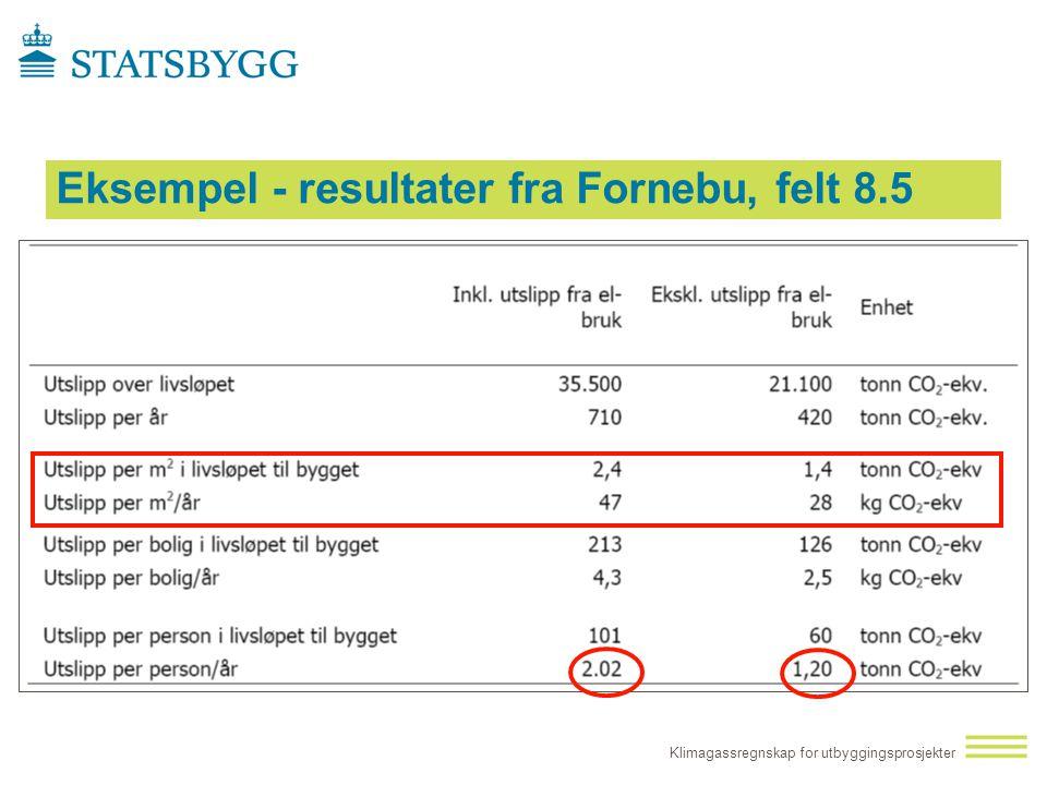 Eksempel - resultater fra Fornebu, felt 8.5