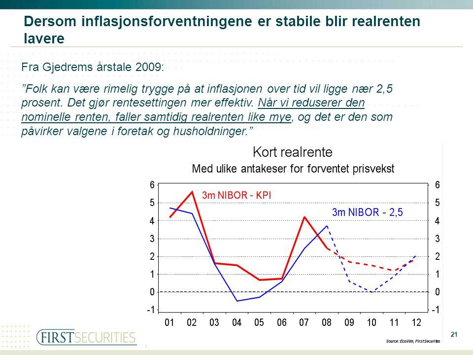 """21 Source: Dersom inflasjonsforventningene er stabile blir realrenten lavere Fra Gjedrems årstale 2009: """"Folk kan være rimelig trygge på at inflasjone"""