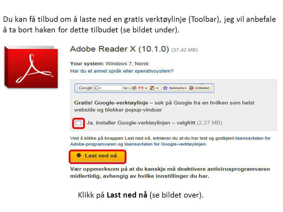 Du kan få tilbud om å laste ned en gratis verktøylinje (Toolbar), jeg vil anbefale å ta bort haken for dette tilbudet (se bildet under).