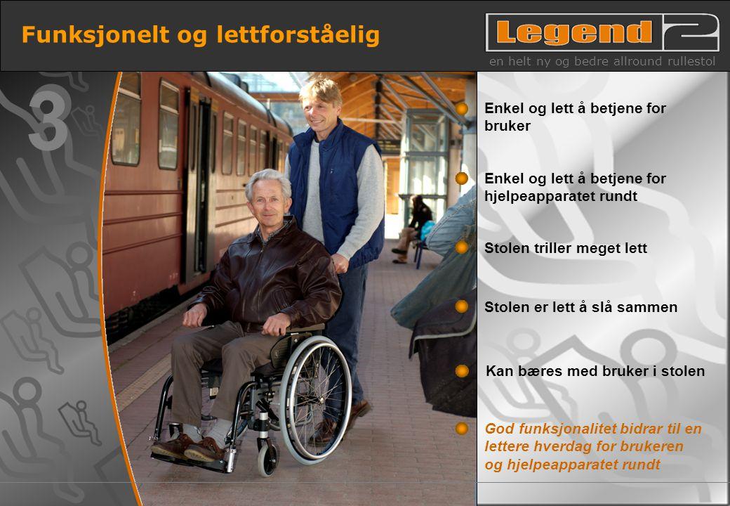 10 Funksjonelt og lettforståelig en helt ny og bedre allround rullestol God funksjonalitet bidrar til en lettere hverdag for brukeren og hjelpeapparat