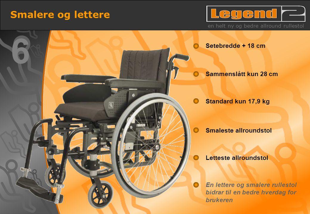 13 En lettere og smalere rullestol bidrar til en bedre hverdag for brukeren Letteste allroundstol Smaleste allroundstol Standard kun 17,9 kg Sammenslå