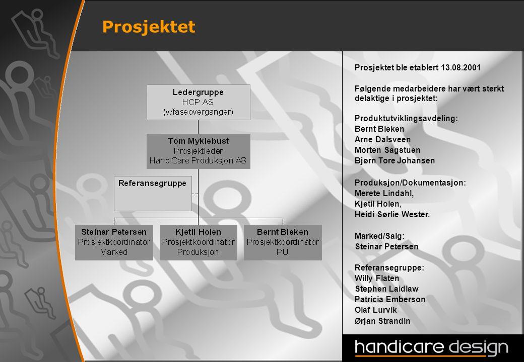 2 Prosjektet Prosjektet ble etablert 13.08.2001 Følgende medarbeidere har vært sterkt delaktige i prosjektet: Produktutviklingsavdeling: Bernt Bleken