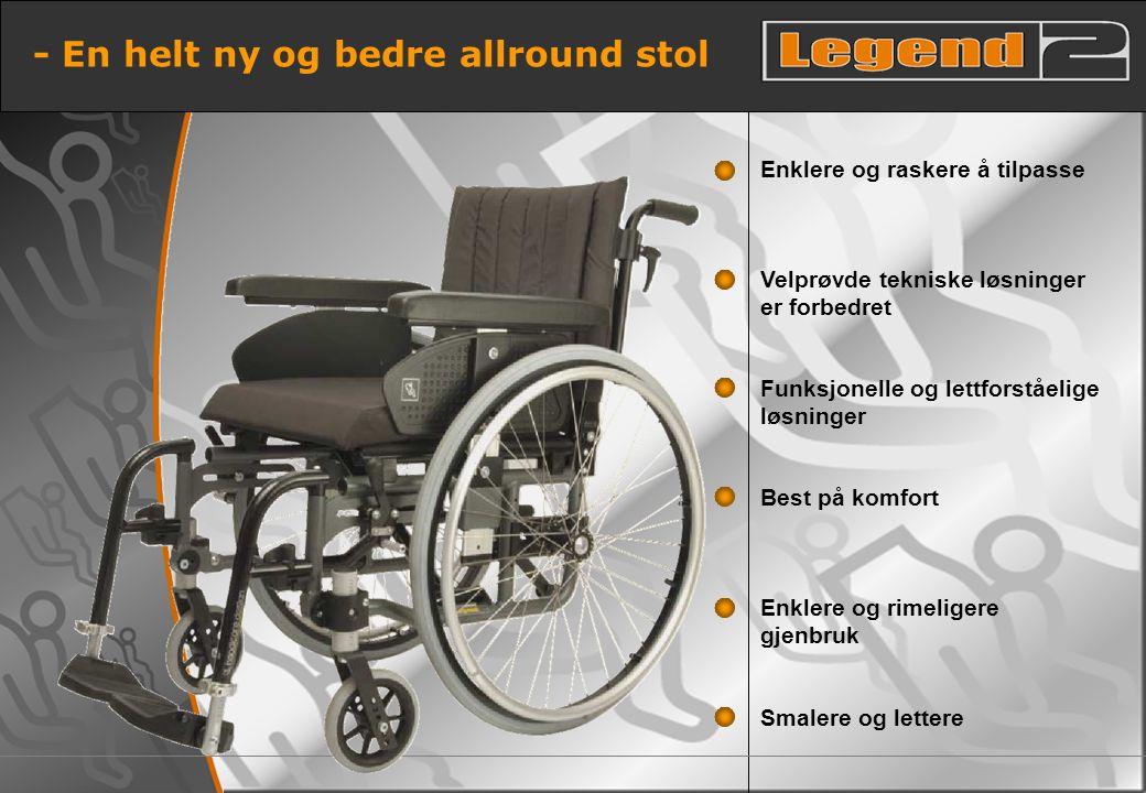 5 - En helt ny og bedre allround stol Smalere og lettere Enklere og rimeligere gjenbruk Best på komfort Funksjonelle og lettforståelige løsninger Velp