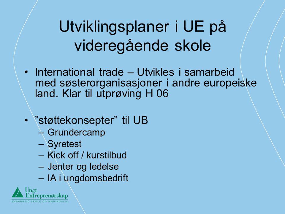 Utviklingsplaner i UE på videregående skole •International trade – Utvikles i samarbeid med søsterorganisasjoner i andre europeiske land. Klar til utp