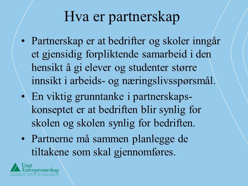 Hva er partnerskap •Partnerskap er at bedrifter og skoler inngår et gjensidig forpliktende samarbeid i den hensikt å gi elever og studenter større inn