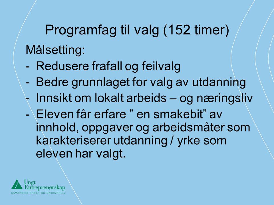 Programfag til valg (152 timer) Målsetting: -Redusere frafall og feilvalg -Bedre grunnlaget for valg av utdanning -Innsikt om lokalt arbeids – og næri