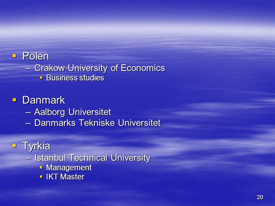 20  Polen –Crakow University of Economics  Business studies  Danmark –Aalborg Universitet –Danmarks Tekniske Universitet  Tyrkia –Istanbul Technical University  Management  IKT Master
