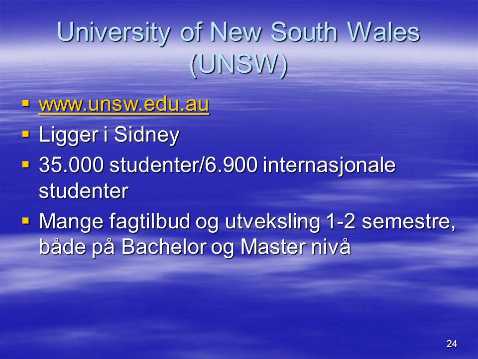 24 University of New South Wales (UNSW)  www.unsw.edu.au www.unsw.edu.au  Ligger i Sidney  35.000 studenter/6.900 internasjonale studenter  Mange fagtilbud og utveksling 1-2 semestre, både på Bachelor og Master nivå