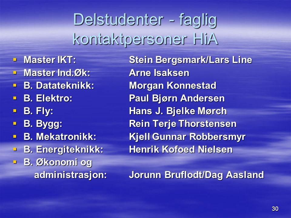 30 Delstudenter - faglig kontaktpersoner HiA  Master IKT: Stein Bergsmark/Lars Line  Master Ind.Øk:Arne Isaksen  B. Datateknikk: Morgan Konnestad 