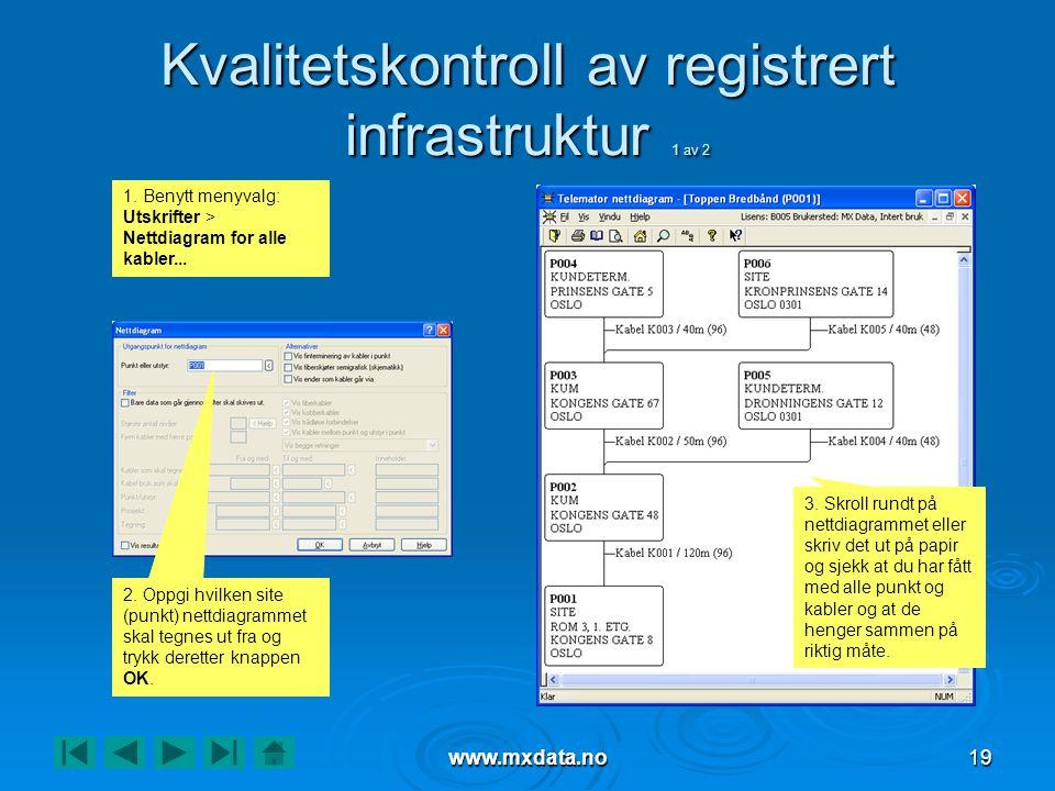 www.mxdata.no19 Kvalitetskontroll av registrert infrastruktur 1 av 2 1. Benytt menyvalg: Utskrifter > Nettdiagram for alle kabler... 2. Oppgi hvilken