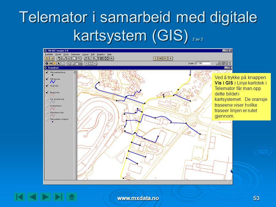 www.mxdata.no53 Telemator i samarbeid med digitale kartsystem (GIS) 2 av 2 Ved å trykke på knappen Vis i GIS i Linje kartotek i Telemator får man opp dette bildet i kartsystemet.